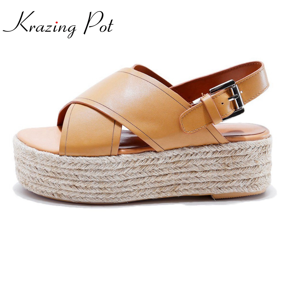 Krazing Pot cow genuine leather peep toe wedges straw high heels ankle straps solid nude sandals