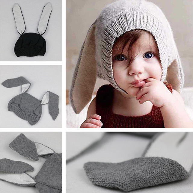 Baby Hats Rabbit Ears Knitted Kids Caps Spring Autumn Baby Girls Hats  Lovely Infant Toddlers Beanies d54ec0784eb