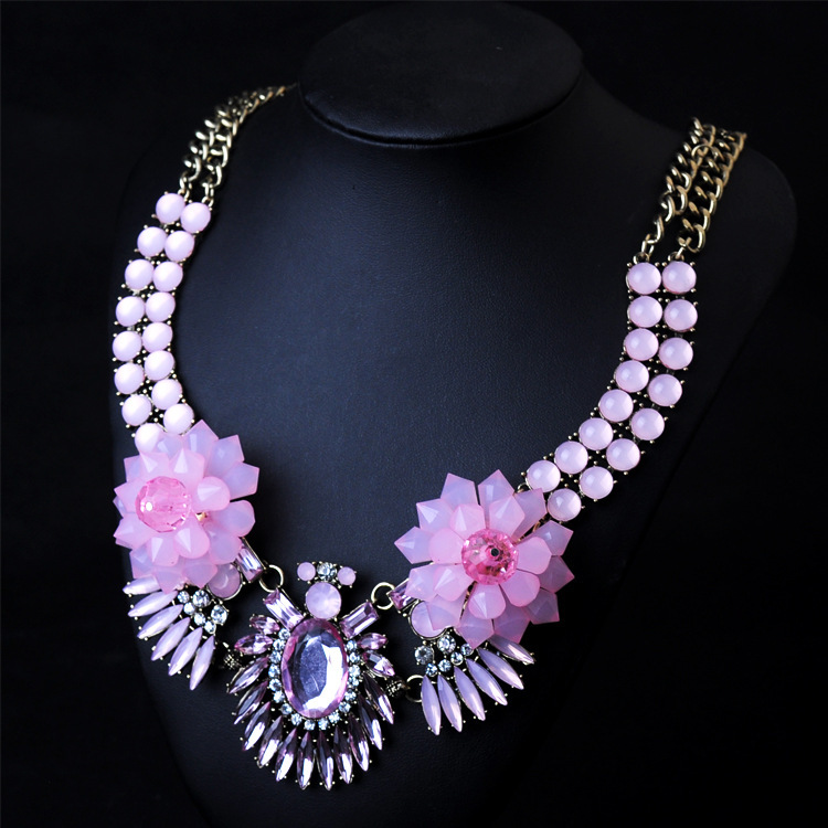 Преувеличены хрустальный цветок коренастый воротник ожерелье колье мода нагрудник заявление ожерелье бренд ювелирные изделия оптом