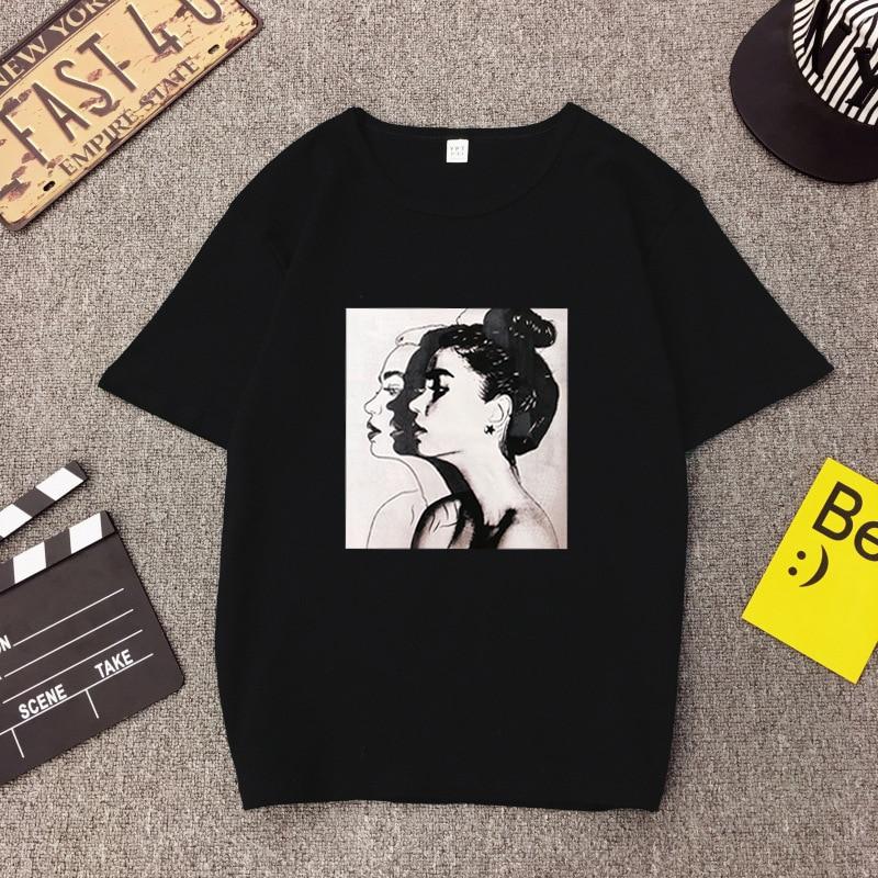 New Fashion T shirt Woman Spring Summer Girls Print Short Sleeve O Neck Cotton Spandex Women Top Slim Fit Soft Women Tshirt 5