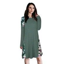 Nibesser Демисезонный Повседневное лоскутное вязаное платье Для женщин с длинным рукавом цветок печатных платье дамы 2018 свободные vestidos