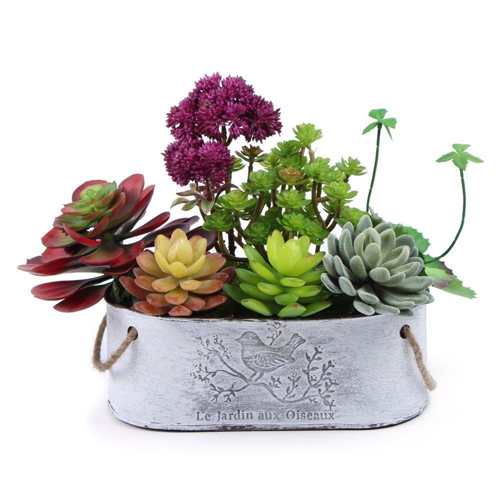 Mkono Potted Artificial Succulents Plants Faux Succulent Planter Pot Display Vase with Silk Plant for Home Decor