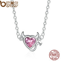 BAMOER Genuine 100 925 Sterling Silver Sweet Devil S Eart Pink Crystal Pendants Necklace For Women