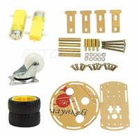 OOTDTY 2WD Mini Round Double-Deck Smart Robot Car Chassis DIY Kit for Arduino New