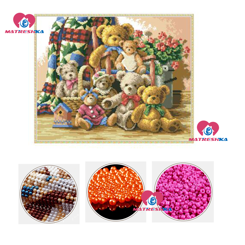 diy beads embroidery Bear family beadwork home decor beaded cross stitch crafts needlework kits accessories diy