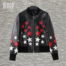 Red white star design black genuine leather coats women spring sheepskin jacket veste en cuir femme jaqueta de couro LT1238
