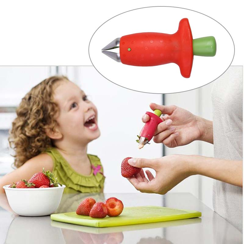 1 Pc Plastic Handle Strawberry Hullers Fruit Pedicle Removal Device Tomato Stalks Strawberry Knife Stem Remover Kitchen Gadgets