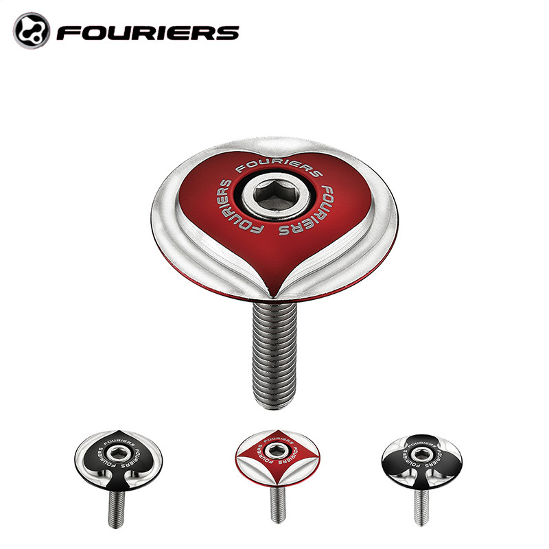 """Fouriers Bicycle Stem Top Cap with Screw Poker Logo For 28.6mm 1 1/8"""" Steerer Fork Tube Caps CNC Headset Cap Cover Bike parts"""