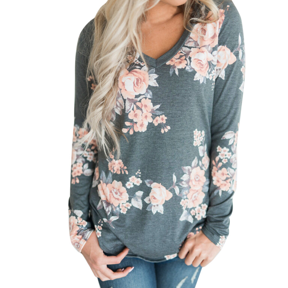 Spring Boho Floral Print T Shirt Women V Neck Long Sleeve