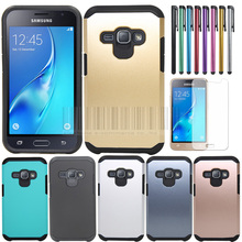 Dual Layer TPU+PC Shockproof Slim Armor Hybrid Impact Case Cover With Film+Stylus For Samsung Galaxy J1 2016 J120 J120F