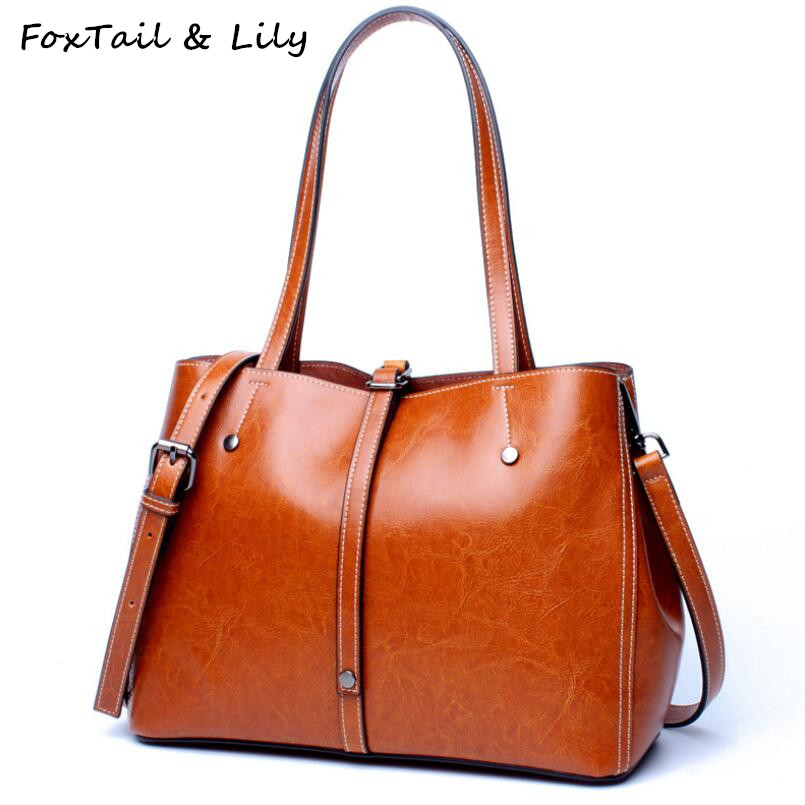FoxTail & Lily Brand Women Tote Shoulder Bag Genuine Leather Handbags High Quality Crossbody Bags Large Capacity Shopping Bags