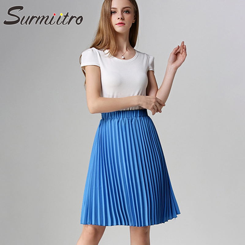Surmiitro Chiffon Summer Pleated Skirt Women 2020 Midi Knee Length Solid 2 Layers High Waist Sun School A-line Skirt Female