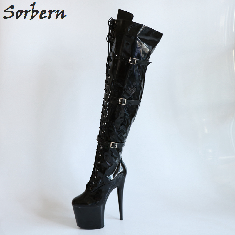 Sorbern Shiny Black Custom Leg Thigh High Boots For Women 20cm Spike High Heel 10cm Platform Shoes Ladies Red/White Size 39 все цены