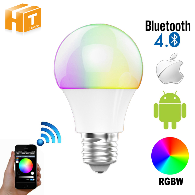 Bluetooth LED Bulb 4.5W E27 RGBW Bluetooth 4.0 Smart LED Light Color Change Dimmable by IOS / Android APP. стоимость