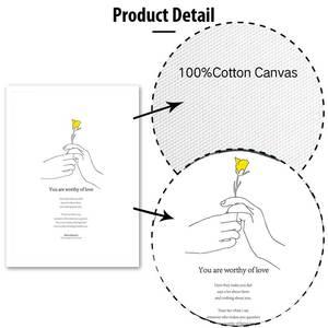 Image 5 - 노란 꽃 미니멀리스트 손 인쇄 포스터 현대 영감 생활 따옴표 캔버스 회화 거실 홈 장식 그림