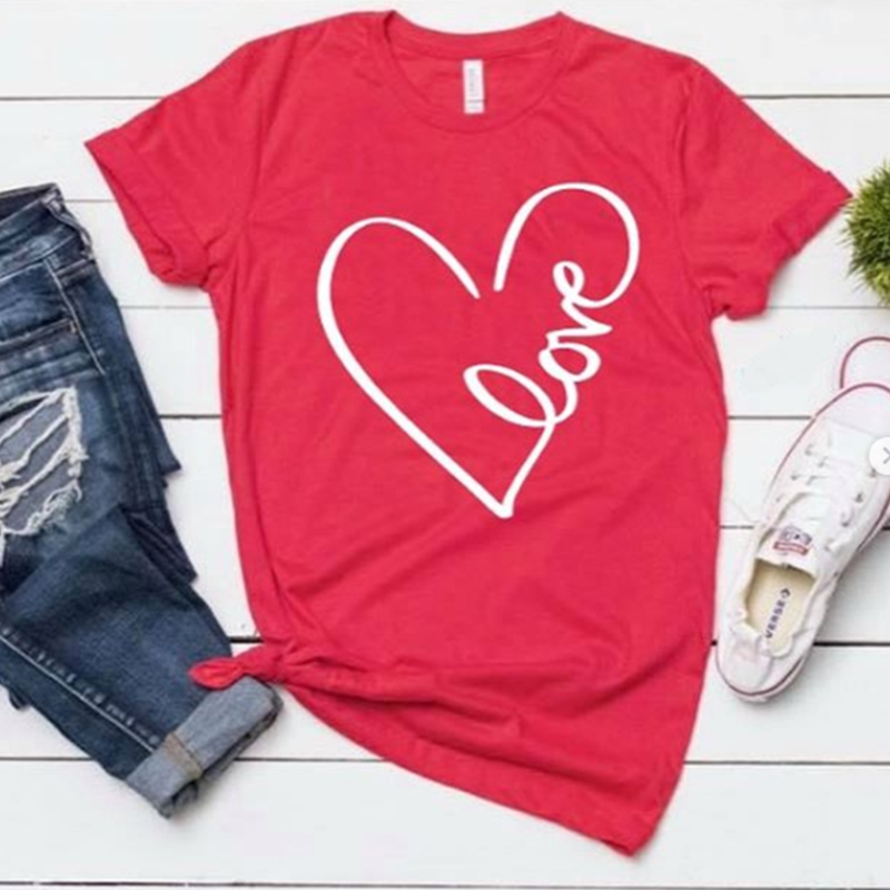 love t shirt graphic letter summer women aesthetic short sleeve woman clothes funny tee pink harajuku top t shirt in T Shirts from Women 39 s Clothing