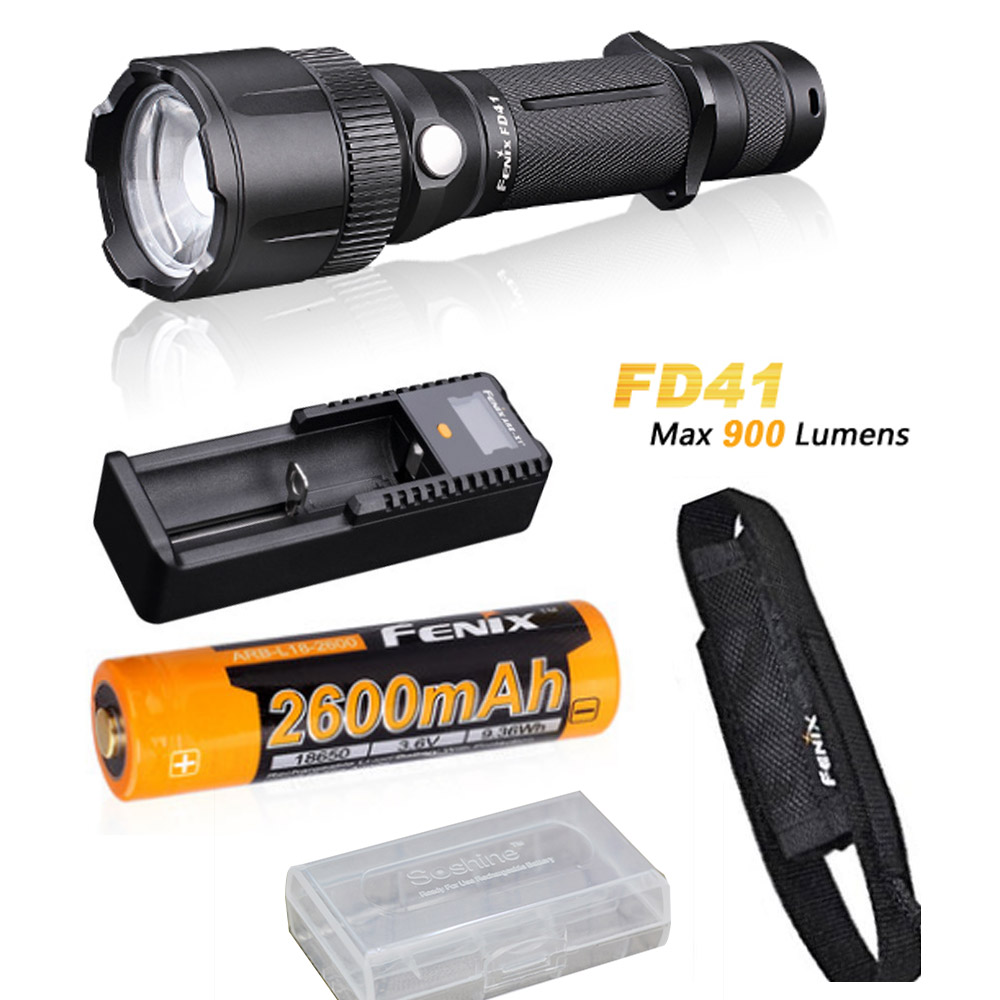 Fenix FD41 zoomable CREE LED 900 Lumen tactical Flashlight with Holster, ARB-L18-2600 battery and FENIX ARE-X1+ charger international relatins