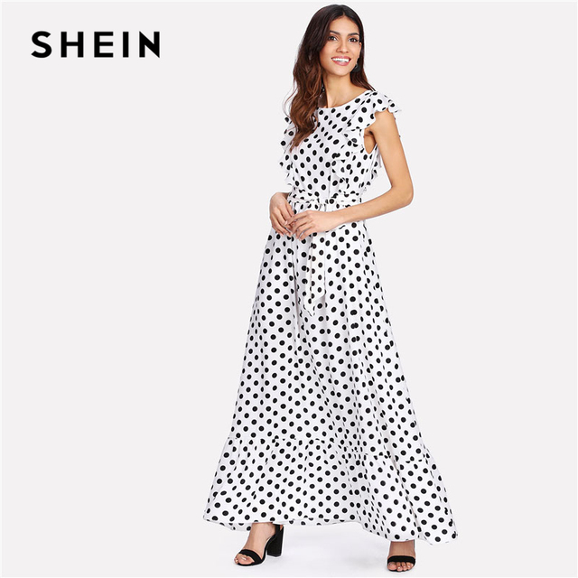 516fdb8f68 SHEIN Ruffle Trim Polka Dot Textured Dress Round Neck Sleeveless High Waist  Women Maxi Dress 2018 Elegant Belted Going Out Dress