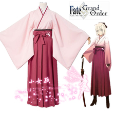 Anime Fate Stay Night Okita Souji Cosplay Costumes Game Grand Order Saber Cherry Kimono Costume