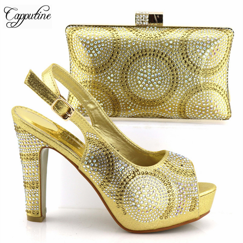 New Arrival African Rhinestone Hig Heels Shoes And Bags Set New Italian Woman Gold Color Shoes And Bags Set For Party TX-192
