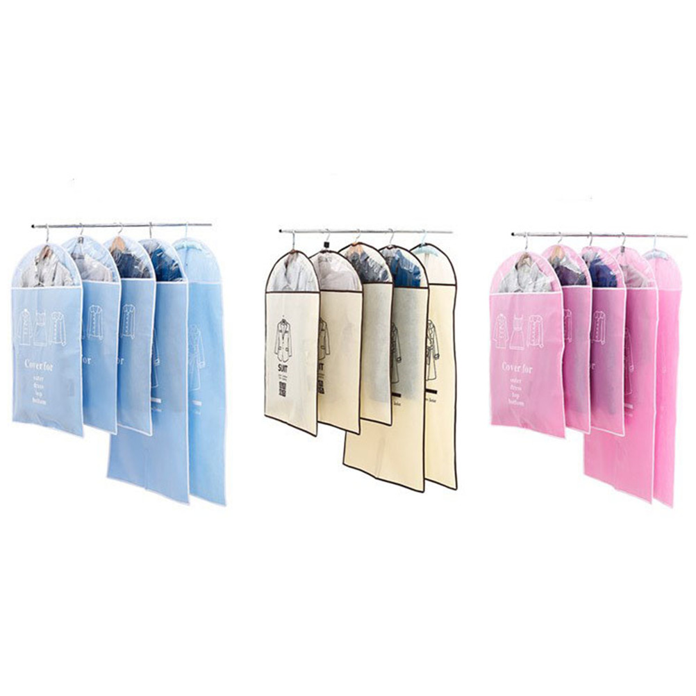 5pcs Wardrobe Storage Bag Garment Suit Coat Dust Cover Protector for ClothesOrganizador VacuumBags for Storing Clothes