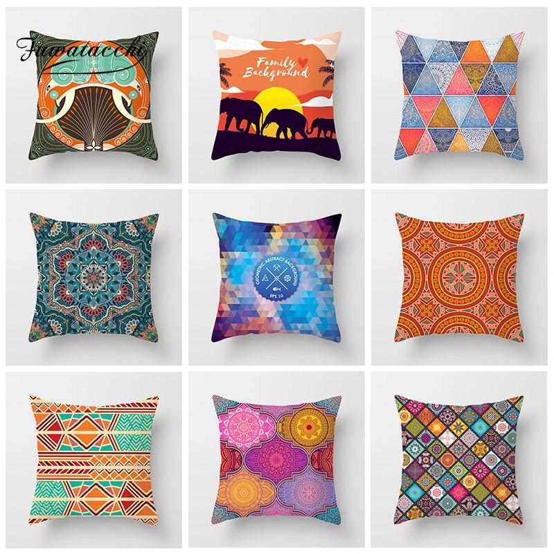 Fuwatacchi Mandala Painted Cushion Cover Elephant Geometric Woven  Pillow Throw Home Decor Sofa Pillowcases