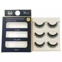 100box (3pcs each box) Synthetic Hair 3D eyelashes wholesale natural long