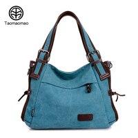 TAOMAOMAO Women Canvas Shoulder Bags Handbags Messenger Top Handle Bags Tote Female Girls Shopping Travel Crossbody