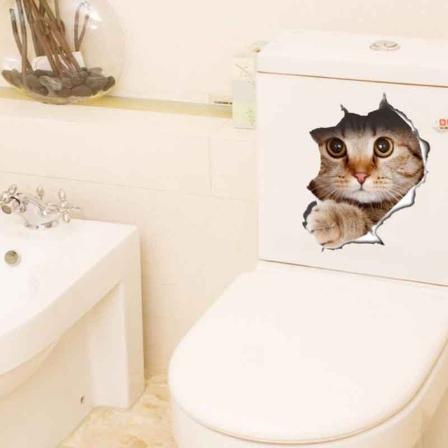 grappige 3d kat wc sticker poster gat dier muurstickers voor kinderkamer badkamer hond muurstickers art interieur
