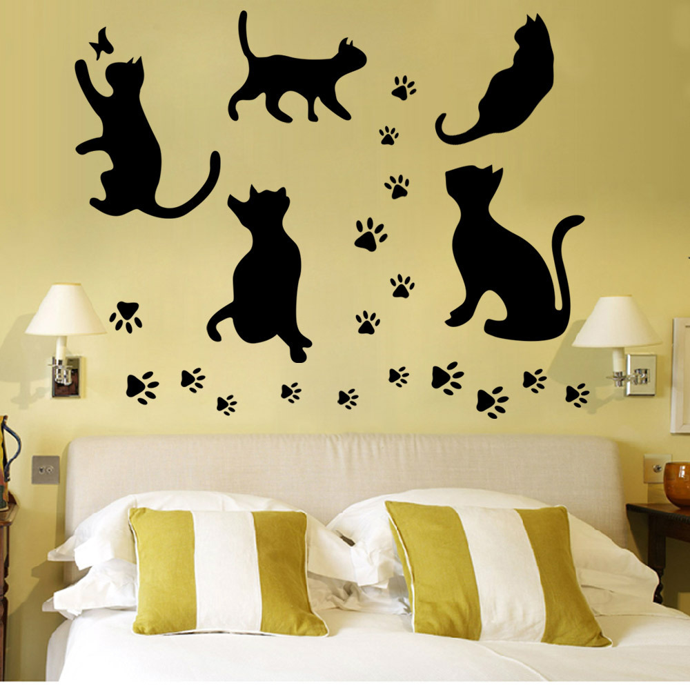 5 Big Cat set Hot Selling Removable Wall Decal 5pc Black Cat Home ...