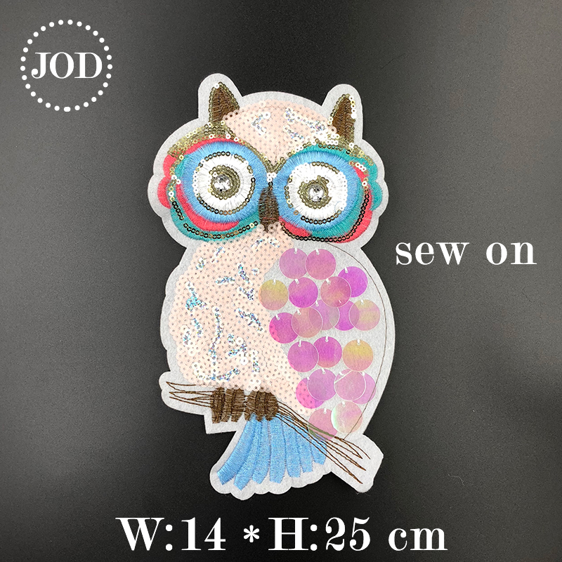 JOD Sequin Cartoon Owl Iron on Patches for Clothing DIY Sewing Large Embroidery Patch Applique for Clothes Stickers Decorative in Patches from Home Garden