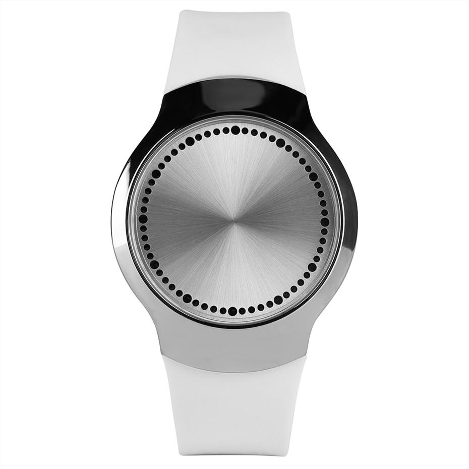 b105172ce2 Creative LED Touch Screen Blue Light Round Dial Man Digital Watch Smart  Electronic Watch Fashion Men Casual Wristwatch Top Gifts