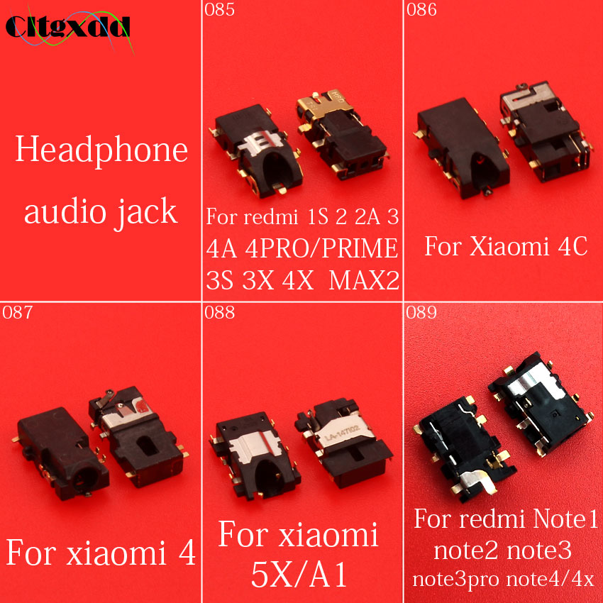 cltgxdd 5~10PCS Headphone audio jack socket For xiaomi 4 4C 5X/A1 redmi 1S 2 2A 3 3S 3X 4A 4PRO prime MAX2 Note 1 2 3 3pro 4 4x ip camera xiaomi charger adapter 5v 1a white power adapter micro usb data sync cable for redmi 4 4a 4x note 3 4 4x 5 xiao mi