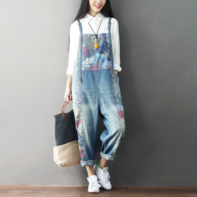8c9cd86e71da Japan Mori Girl Kpop Fashion Oversized Korean Vintage Print Corduroy  Patchwork Denim Loose Jumsuits Pants Jean Overalls Romper-in Jumpsuits from  Women s ...