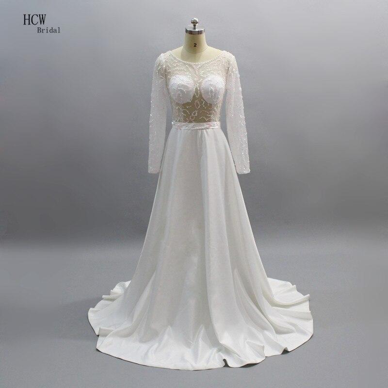 Blanc à manches longues voir à travers les robes de bal charmant perles pure une ligne longue robe formelle 2019 vraies Photos sur mesure