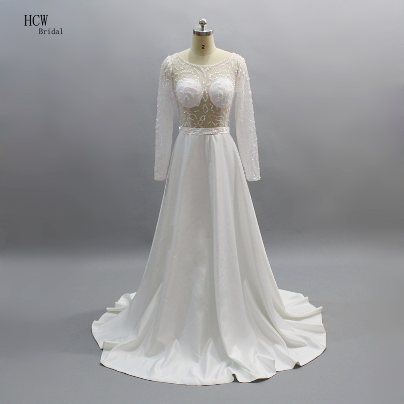 White Long Sleeve See Through   Prom     Dresses   Charming Beading Sheer A Line Long Formal   Dress   2019 Real Photos Custom Made