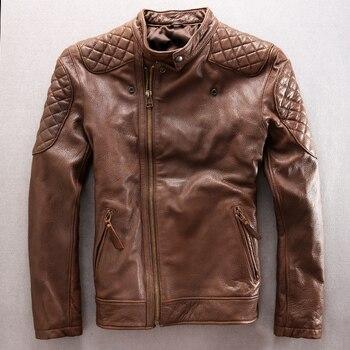 Thick winter brown sheepskin genuine leather jacket Men stand collar short oblique zipper motorcycle leather jacket men winter мужские кожанные куртки с косой молнией