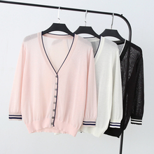New Summer Women's Cardigan With 3/4 Sleeve V-neck Office Lady Sun Protection Clothing AIr Condition Knit Cardigan Thin Sweater все цены