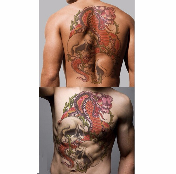 5pcs dragon carp Temporary Tattoo Sticker full back fish waterproof temporary Tattoos Men Women Fake Tattoo henna tattoo tatoo 2
