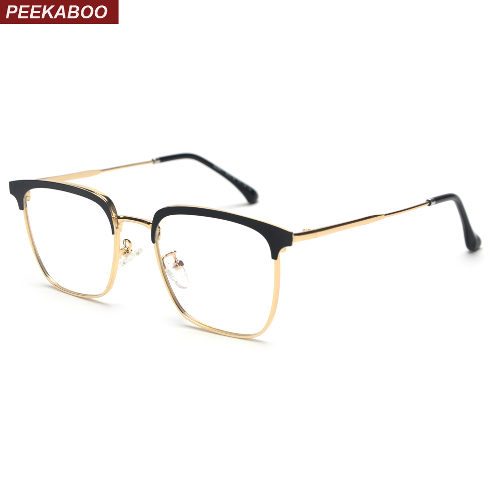 Peekaboo Man Metal Optical Glasses Frame For Men Gold Silver Black Clear Lens Square Eyeglasses Women High Quality 2019