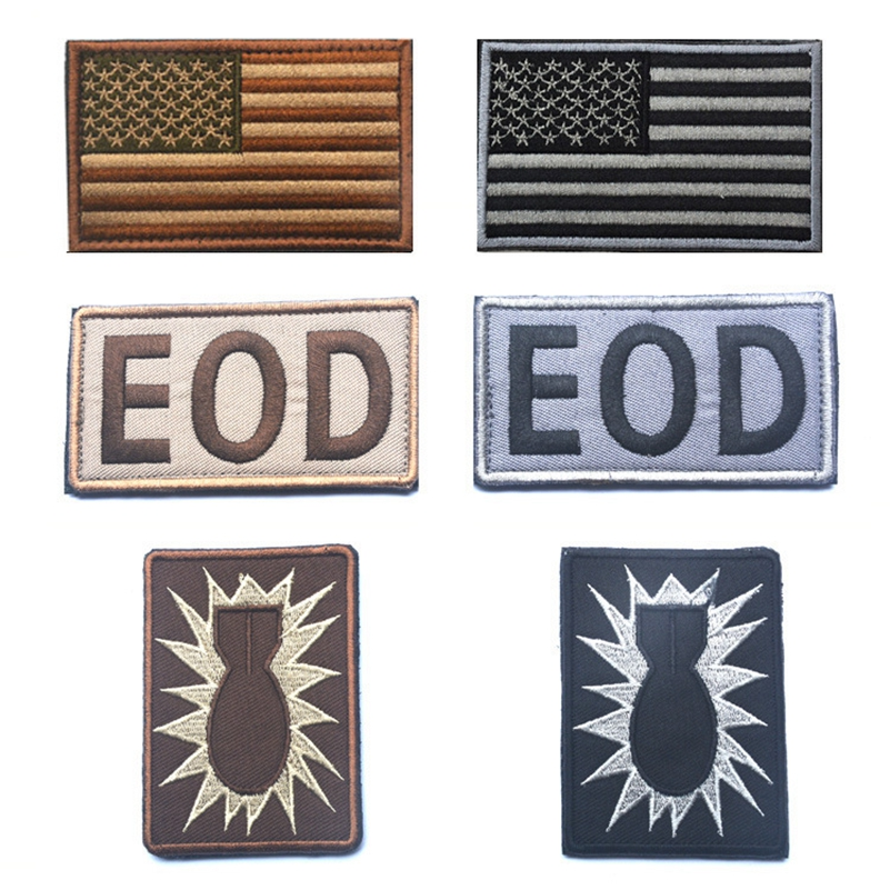 US $3 25 35% OFF|Usa American Flag Eod Tactical Us Army Morale Military  Badge Patch Embroidered Patches Tactical Badges Fabric Armband Stickers-in
