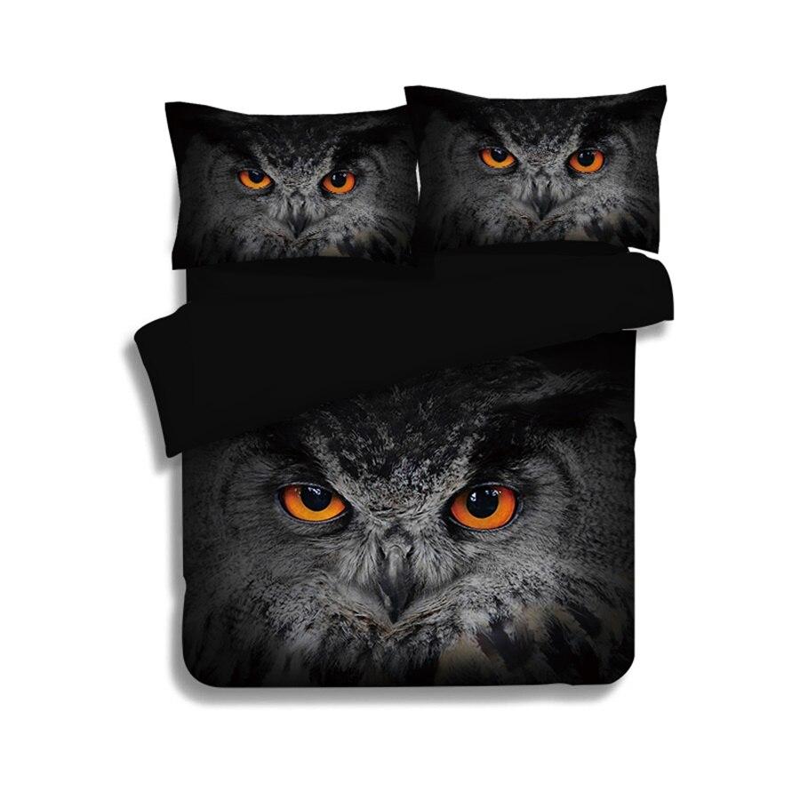 Coruja Bandeira American Eagle 3D Pássaro Impresso Cama Gêmeo Ajustado Queen Size Rei Capa de Edredão Caso Pillow Folha de Cama Em Casa conjuntos têxtil