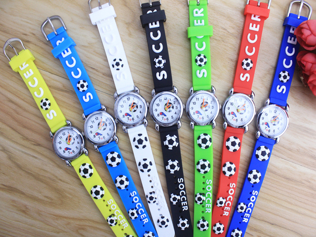 10pcs/lot New Arrival 3D football Cartoon Silicone Band Chilidren's watches Kids