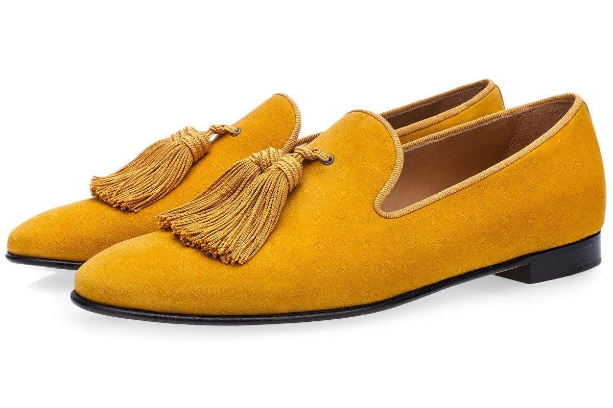 Men Tassel Shoes Flat Pointed Toe Comfortable Shoes Yellow Suede Slip On Dress Shoes Blue Driving Shoes