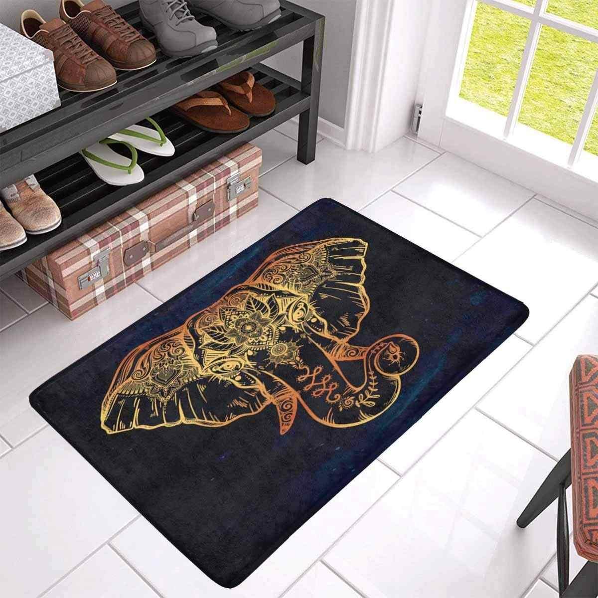 Felpudo de goma antideslizante Estilo Vintage elefante con Loto étnico decoración del hogar entrada interior