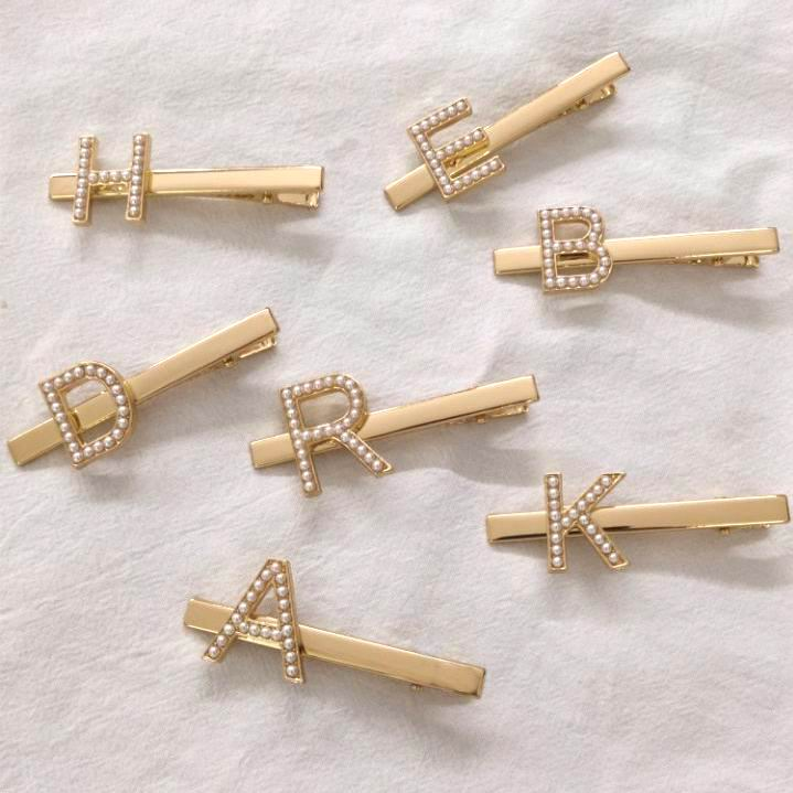 2019 New Hair Accessories Gold Color Metal Hair Clips For Women Imitation Pearl English Letter Personality Hairpins Barrettes
