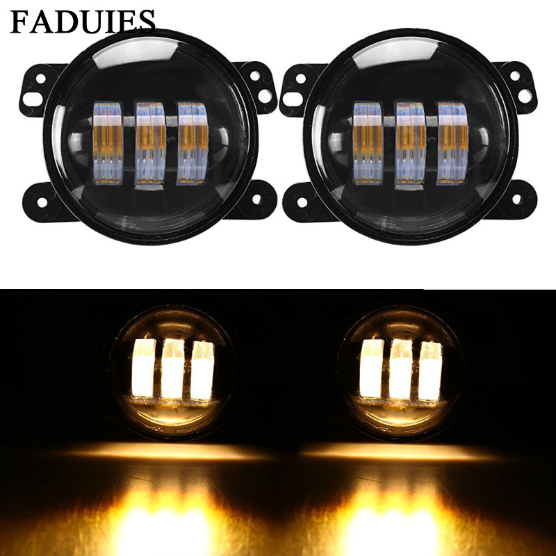 FADUIES 4 inch Amber Yellow 30W Led Fog Lights For Jeep Wrangler 1997-2016 JK Off Road Fog Lamps windshield pillar mount grab handles for jeep wrangler jk and jku unlimited solid mount grab textured steel bar front fits jeep