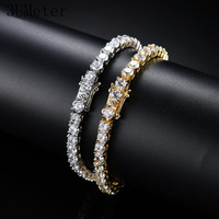 3UMeter 2.5mm 10mm Iced Out Bling AAA Zircon 1 Row Tennis Chain Necklace Men Hip hop Jewelry Gold Silver Drop Shipping