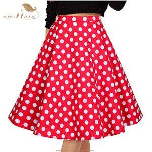 Image 3 - SISHION Vrouwen Rok Blauw Rood Zwart Witte Stip Hoge Taille Vintage Skater faldas mujer Plus Size School Korte Rok VD0020
