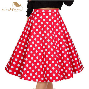 Image 3 - SISHION נשים חצאית כחול אדום שחור לבן מנוקדת גבוה מותניים בציר סקטים faldas mujer בתוספת גודל בית ספר קצר חצאית VD0020
